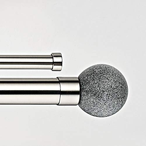 Decor Avenue Grey Stone Double Window Curtain Rod Set, 48 to 86-Inch, Satin Nickle ()