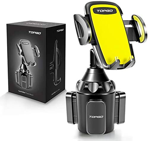 [Upgraded] Car Cup Holder Phone Mount Adjustable Automobile Cup Holder Smart Phone Cradle Car Mount for iPhone 11 Pro/XR/XS Max/X/8/7 Plus/6s/Samsung S10+/Note 9/S8 Plus/S7 Edge(Yellow)