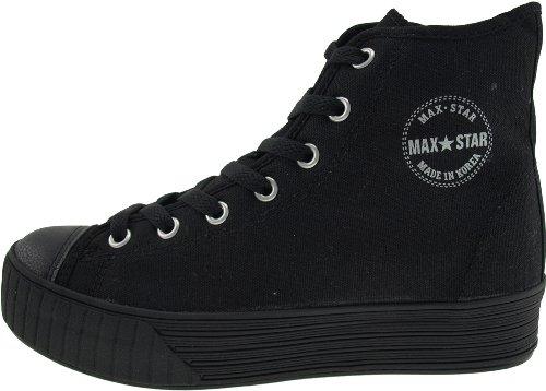 Maxstar C30 7-Holes High-Top Zipper Low Platform Canvas Sneakers Shoes Solid-Black MXky9