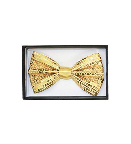 Mozlly Glamorous Gold Sequin Bow Ties Adjustable Classic
