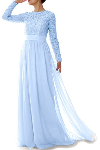 MACloth Women Long Sleeve Lace Chiffon Mother of Bride Dress Formal Evening Gown Cielo azul