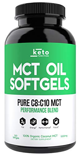 KETO Function MCT Oil Capsules - 240 Organic C8 MCT Pills from Pure Coconut Oil - The Perfect Keto Diet Pill - Easy to Digest 1000mg Softgels to Fuel Energy, Brain Support, Weight Loss & Ketones Now