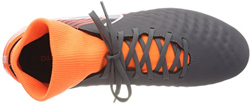 NIKE Men's Magista Obra 2 Academy DF FG Soccer Cleat (Dark Grey, Total Orange)
