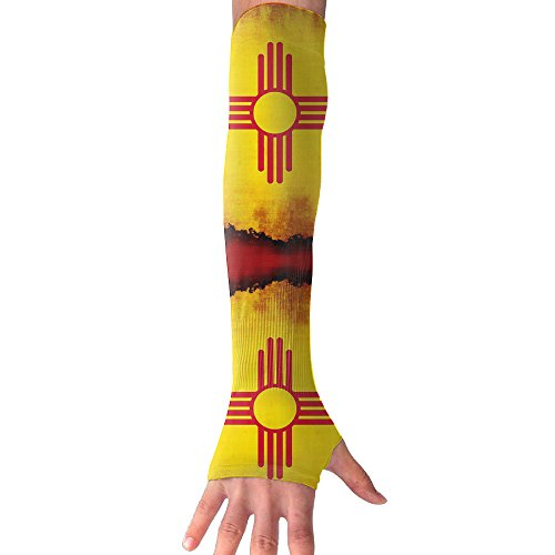 YanHill Cooling Arm Sports Arm Sleeves New Mexico Flag UV Sun Protection Arm Sleeves With Thumb Holes For Basketball, Football, Baseball, Cycling, Volleyball, Or Other - Colors Tones Cool For To Wear Skin