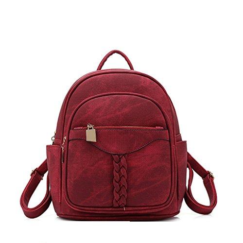 Mengonee Multi-fonction Femmes Filles Mini Voyage Sac à bandoulière en cuir PU petit sac à dos pratique sac à main fourre-tout Vin Rouge