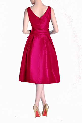 Taffeta Dress V Tea neck Pleated Modest Bridesmaid Length A Formal Fuchsia bridesmaids line 0P8Iw