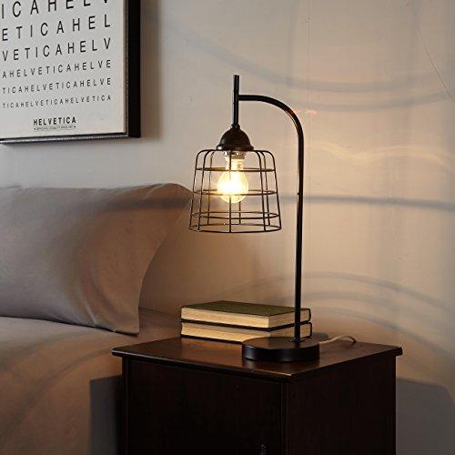 Urban Shop 784857776812 Caged Metallic Table Lamp, Black