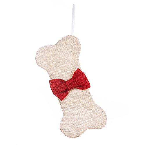 (LO LORD LO Hand Made Dog Christmas Stocking Bone Burlap 16