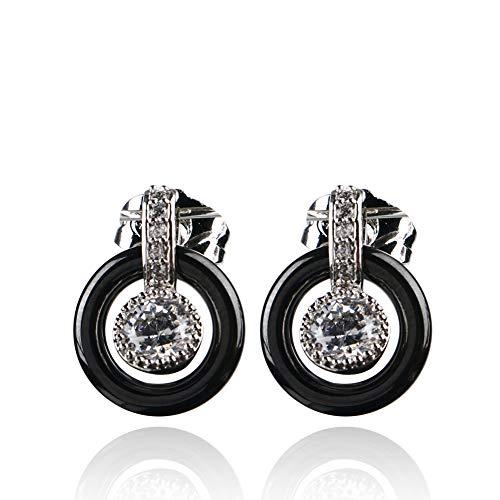 TUHE 2pc/Set Gold Plated Healthy Ceramic Stud Earrings for Women Ear Earrings Cubic Zirconia Wedding Gift - Earrings Ceramic Set