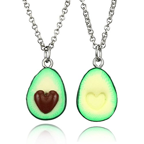 YCQHIKER A Set Handcraft Green Avocado Bff Friendship Necklace Handmade Pendant Heart Love Present Necklace Food Miniature Best Friend (necklace a set) (necklace a set)