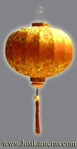 Golden Brown Vietnamese Silk Lantern by JustLanterns.com