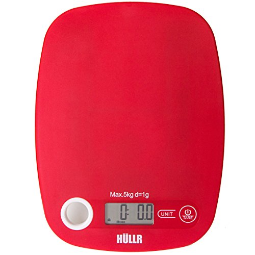 HULLR Multifunction Digital Kitchen Food Scale (Red)