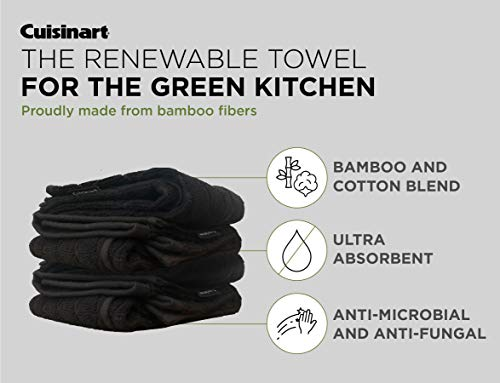 Cuisinart Bamboo Kitchen Towels, 2 Pack – The Perfect Kitchen Hand Towels for Drying Dishes or Hands - Soft, Absorbent and Anti-Microbial – Bamboo Cotton Blend – Jet Black, Diamond Design