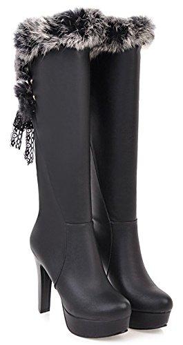 With Black Toe Fur Boots Dressy Aisun Knee Round Elegant High Up High Womens Platform Heel Lace Faux 7ZqFaqXYO