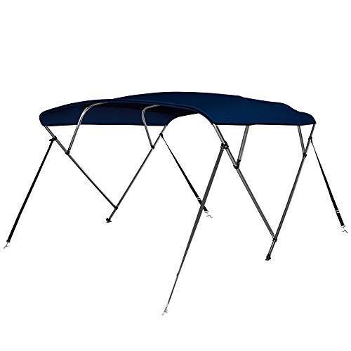 (Seamander 4 Bow Bimini Top Boat Cover 4 Straps for Front and Rear Includes with Mounting Hardware (4 Bow 8'L x 54