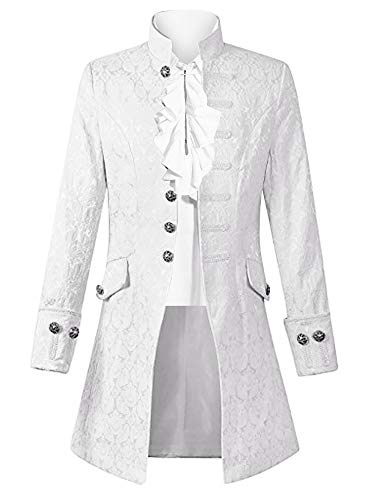 Mens Steampunk Victorian Medieval Jacket Pirate Costume Viking Renaissance Formal Tailcoat Gothic Victorian Tuxedo Coats (Medium, White)]()