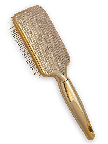 Paddle Hair Brush for Detangling & Styling - Ideal for Blow-Dry, Straighten, Comb All Hair Types - Bling Design (Gold) -