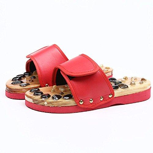 pies Home Zapatillas Salud Antideslizante HHORD Masaje Red Piedras de Zapatillas Calzado 37 Masaje 8Oq4nxBw