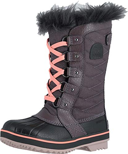 Sorel - Youth Tofino II Winter Snow Boots with Faux Fur Cuff for Kids, Purple Sage/Coal, 5 M ()