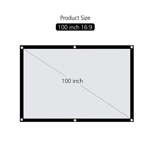 "HENZIN 100"" Inches 16:9 Simple Portable Projector Screen Polyester Outdoor Indoor Foldable Wall Mounted Projection Screen For Home Cinema Camping Theater w Peel-and-Stick Hooks"