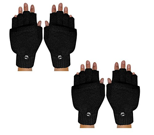 Peach Couture Warm Insulating Convertible Gloves Mittens For Easy Smartphone Texting (One Size, Black 2 Pack)