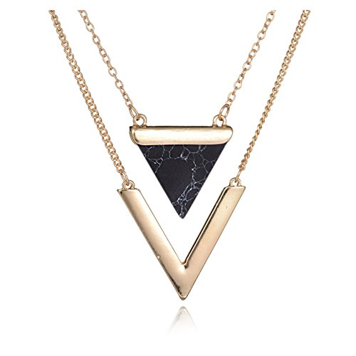 Metal Womens Fashion Necklace - Geerier Golden Metal Chain Marble Stone Choker Necklace Set Chevron Black Triangle