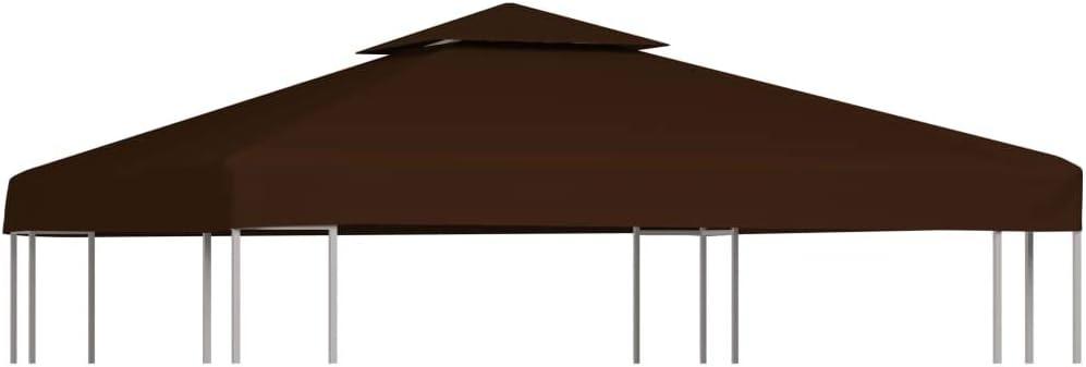 vidaXL Toldo de Cenador 2 Niveles 310 g/m² Casa Jardín Terraza Patio Piscina Decoración Estilo Lona Cubierta Capa Dosel Parasol Palio 3x3 m Marrón: Amazon.es: Hogar