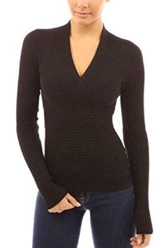 IF FEEL Women's Sexy Crop Plunging Cross V Neck Stretch Knitwear Top ((US 8-10)M, - Discount Free Shop Shipping Poker