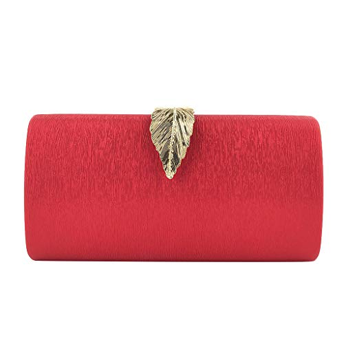 (Oucan Women Solid Color Leaves Evening Bag Dress Hand Grab Chain Bag Clutch Bags)