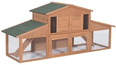 "Pawhut 91"" Deluxe Large Wooden Bunny Rabbit Hutch / Chicken Coop w/ Outdoor Run"