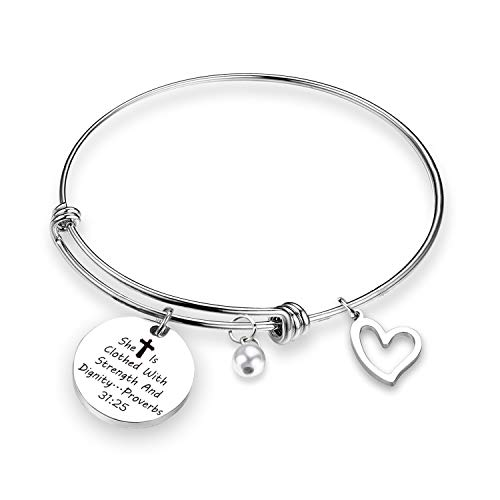 TOGON Religious Bracelet She is Clothed with Strength and Dignity Bracelet Inspirational Gift Christian Gifts for Her (She is Clothed BR) -