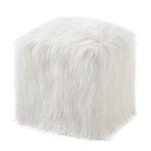 Donna Salyers' Fabulous Furs Ivory Tibetan Faux Fur Pouf by Donna Salyers' Fabulous-Furs