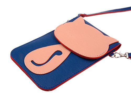 Modello 3d A Mini Gatto Bacio Borsa Cellulare Blu Oro tm Tracolla Telefono Scuro Del Bello q47YF8g