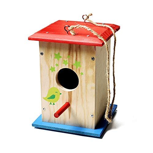 Stanley Jr DIY Bird House Kit for Kids and Adults - Easy Assembly Paint-A-Birdhouse Kit - Wooden Birdhouse Kit - Paint & Brushes Included