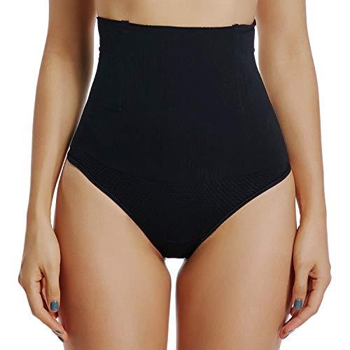 High Waist Underwear Women Tummy Control Thong Shapewear Panties Everyday Shaping Seamless (Black, L)