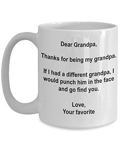 Funny Grandpa Gifts - I'd Punch Another Grandpa In The Face Coffee Mug - 15 oz Ceramic Mug