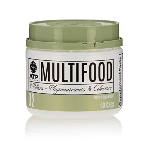ATP Science Multifood Multivitamin Daily Supplement with Natural Balance of Nutrients & Vitamins: Zinc, Vitamin C, D, E, B1, B2, B6, Biotin, Selenium 100% Vegan, Whole Food, Helps Detox – 60 Caps