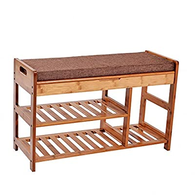 C&AHOME Extra Large Size Shoe Storage Bench Entryway Bamboo Rack Shelf Organizer with Cushion and Storage Drawer Under Seat - MULTIFUNCTIONAL BAMBOO BENCH: 100% natural bamboo, environment friendly and sturdy; 2 tiers bamboo rack & storage bench for shoes, boots, bags, plants, toiletries, baskets in entryway, bedroom, bathroom, closet, etc. The biggest wooden shoe organizer available on Amazon. INNOVATIVE DESIGN: Two-tier shelves on one side for sneakers and slippers, an extra layer section on the other side for boots and high heels. Specifically designed extra storage space for families who owns lots of shoes. THOUGHTFUL WORKMANSHIP: Natural and smooth finish, rounded corners, protect your family from being scratched, especially the children. Sturdy and durable, could hold weight 150kg and above. - entryway-furniture-decor, entryway-laundry-room, benches - 41l VVPmbnL. SS400  -