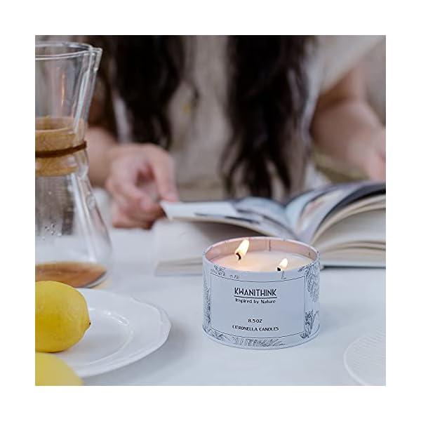 41l KWANITHINK Citronella Kerze,2 x 36 Stunde Natürliche Sojawachs Kerzen, Duftkerze Citronella Kerzen outdoor perfekt für…