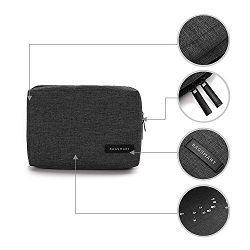 BAGSMART Small Travel Electronics Cable Organizer Bag for Hard Drives, Cables, Charger, Black