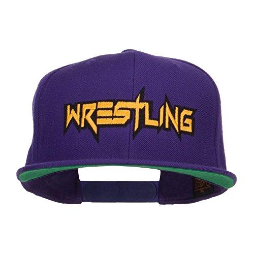 E4hats Wrestling Embroidered Snapback Cap - Purple OSFM by E4hats