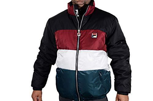 Fila Vintage Neo Colour Blocked Puffa Jacket Black/Red/White/Atlantico Large Black/Red/White/Atlantico ()