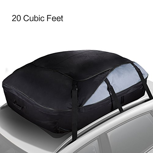 Cargo Bag Carrier,FinalBase Roof Top Cargo Storage Bag Water-resistant Luggage Soft Side Carrier Bag for Vehicles with Roof Racks and Rails (20 Cubic Feet)