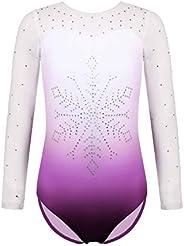 Zaclotre Kids Girls Long Sleeve Sleeve Sparkly Diamond Mesh Athletic Gymnastics Leotards