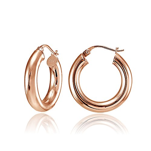 Hoops & Loops Rose Gold Flash Sterling Silver 20mm Round Hoop Earrings, Polished 4mm Thick One Pair Set