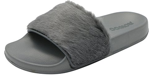 Trim Sandals Flat Faux Slipper Slip ROWOO Women On Gray Fur 8pZCnXwq