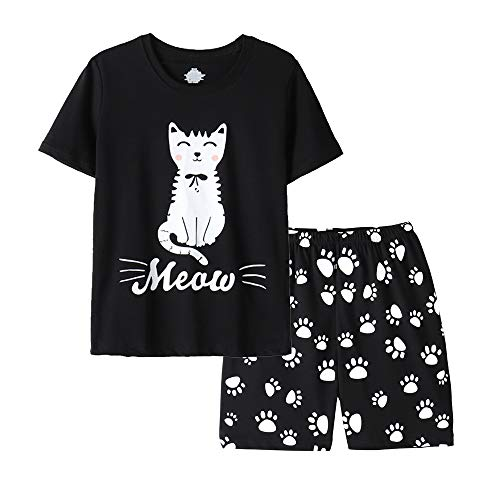 Vopmocld Girls Summer Short Sleeve Pajama Sets Cute Cat Patterns Sleepwear Nighty 100% Cotton Black]()