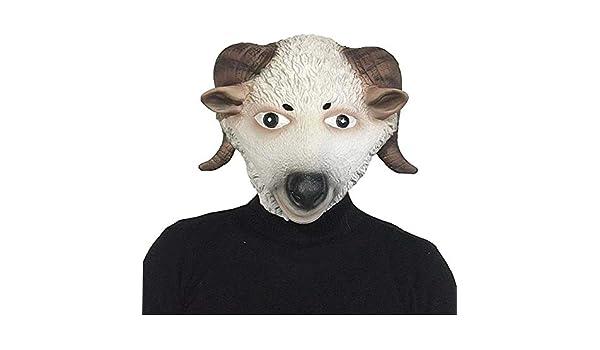 IENPAJNEPQN Látex de Halloween Máscara de Cabeza de Oveja Linda ...