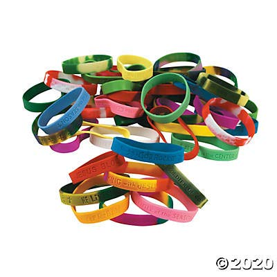 Religious Sayings Rubber Bracelets (100 Bulk Pieces Like WWJD, VBS and More) Christian Faith Party Supplies: Toys & Games