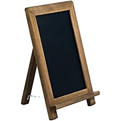 Small Rustic Table Top Chalkboard Easel Sign with Stand by VersaChalk - Farmhouse Wood Frame and Magnetic Chalk Board Compatible with Liquid Chalk Markers - 13 x 9 Inches
